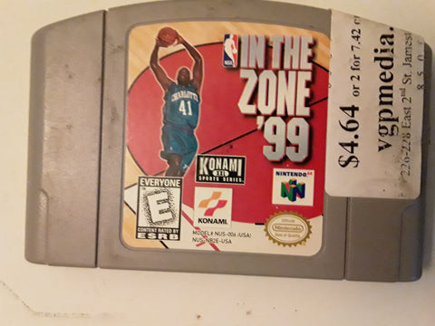 NBA In the Zone 99 Basketball 1999 Used N64 Video Game