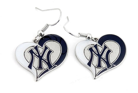 New York Yankees MLB Silver Swirl Heart Dangle Earrings