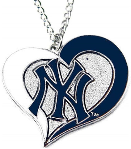 New York Yankees Swirl Heart MLB Silver Team Pendant Necklace