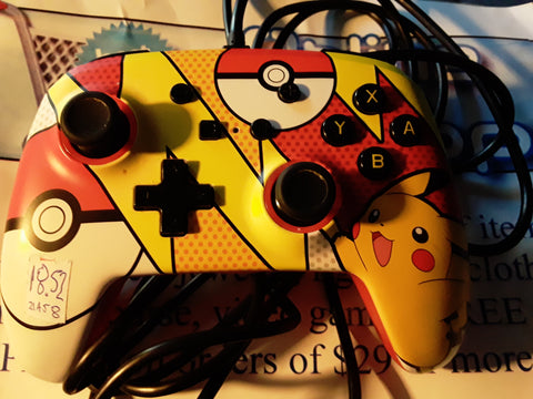 Nintendo Switch Pikachu Pokemon Pop Art Wired Controller Used