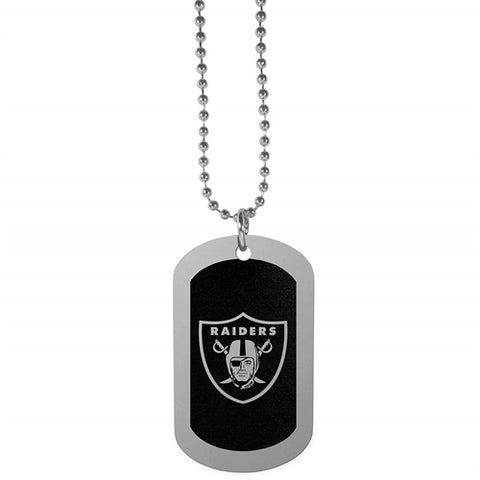 Oakland Raiders NFL Black Chrome Dog Tag Necklace