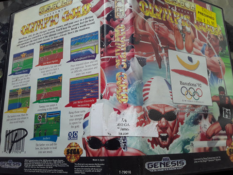 Olympic Gold Barcelona 92 With Case Used Sega Genesis Video Game