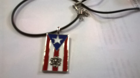 PUERTO RICO FLAG & SOL TAINO NECKLACE