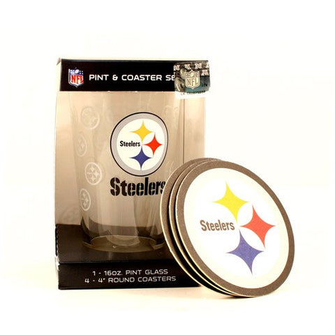 Pittsburgh Steelers NFL 16 Ounce Pint Glass 4 Coaster Set