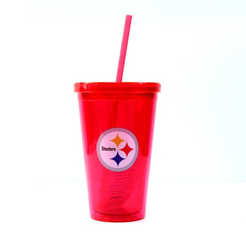 Pittsburgh Steelers NFL 16 Ounce Red Straw Tumbler