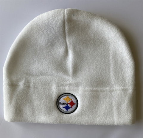 Pittsburgh Steelers NFL White Fleece Beanie Cap Hat