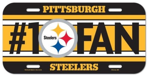 Pittsburgh Steelers #1 Fan NFL Souvenir Black Plastic License Plate