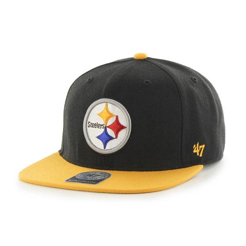 Pittsburgh Steelers NFL Black Super Shot 2 Tone Captain Adjustable Flat Brim Hat 47 Brand