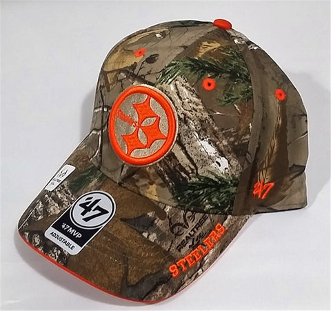 Pittsburgh Steelers NFL Realtree Frost MVP Camo Adjustable Baseball Cap Hat 47 Brand