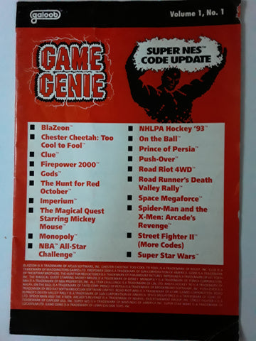 SNES Game Genie Code Book Update Volume 1. No. 1