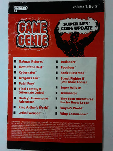 SNES Game Genie Code Book Update Volume 1, No. 2