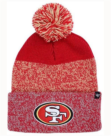 San Francisco 49ers NFL Red Static Knit Cuff Cap w/ Pom Pom