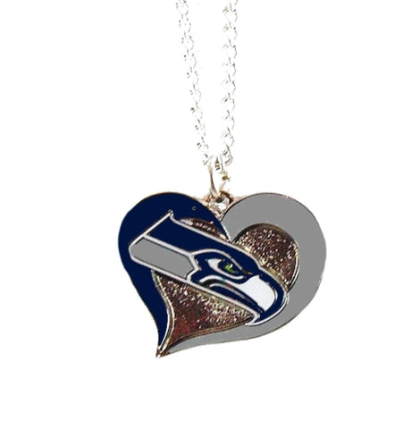 Seattle Seahawks Swirl Heart NFL Silver Team Pendant Necklace