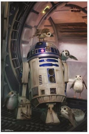 Star Wars Episode VIII The Last Jedi R2-D2 & Porg 23x34 Movie Poster