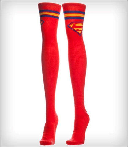 WOMENS SUPERMAN RED KNEE HIGH SOCKS