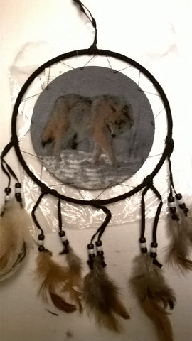 "Wolf 15"" long Dream Catcher"