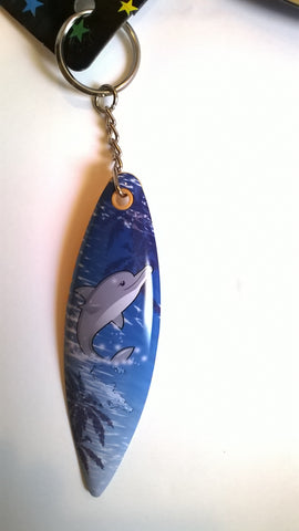 Dolphin Surf Board Key Chains