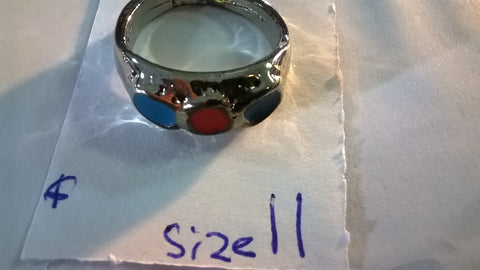 Rhodium Red & Turquoise Circles Ring Size 11