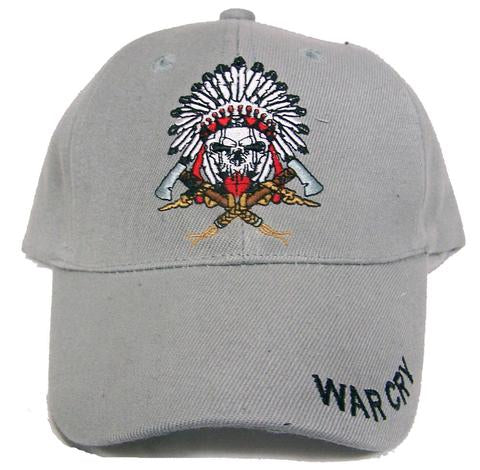 War Cry Native Skull Tomahawks Velcro Adjustable Baseball Cap Hat