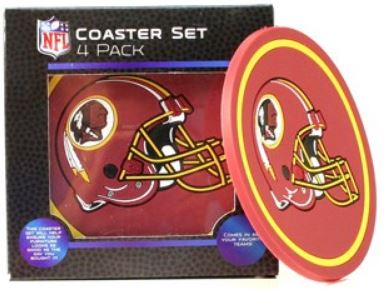 Washington Redskins Football Team NFL 4 Pack Euro Style Coaster Set