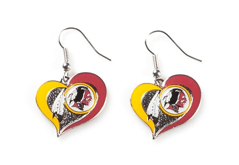 Washington Redskins NFL Swirl Heart Dangle Earrings