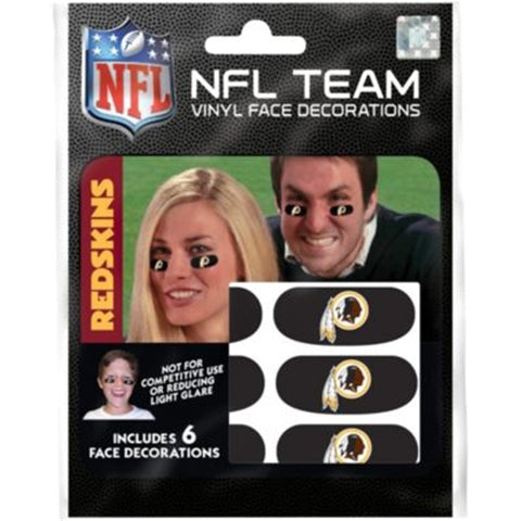 Washington Redskins NFL Vinyl Face Decorations 6 Pack Eye Black Strips