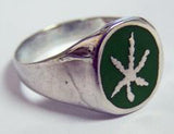 Marijuana Biker Ring w Pot Leaf