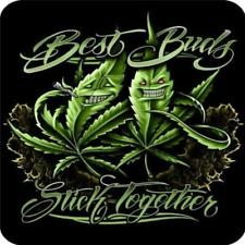 "Best Buds Stick Together Pot leaf Faux Fur 79"" X 96"" Medium Weight Queen Size Regal Comfort Blanket"