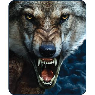 "Wolf Growling Faux Fur 79"" X 96"" Medium Weight Queen Blanket"