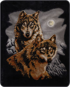 "2 Wolves 79"" X 96"" Medium Weight Queen Size Regal Comfort Blanket"