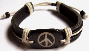 Peace Sign Carved Bone Bracelet