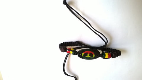 Rasta Peace Sign Bracelet