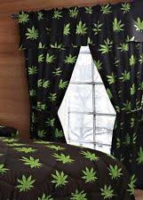 Marijuana 5 Piece Pot Leaf Curtain Set
