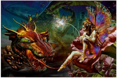 Dragon & Fairy 36 x 24 inch Wall Poster