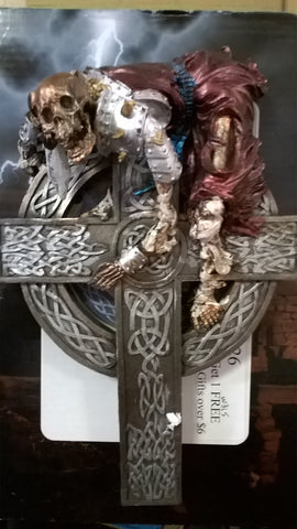 "Undead Warrior Skull on a Cross with Dagger 10"" tall Figurine"