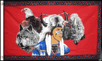 Wolf Indian Eagle 3x5 Foot Flag