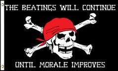 Pirate Skull Beatings Will Continue Until Morale Improves 3x5 Foot Flag