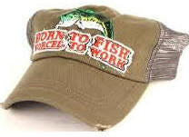 Born To Fish Forced to Work Distressed Trucker Hat