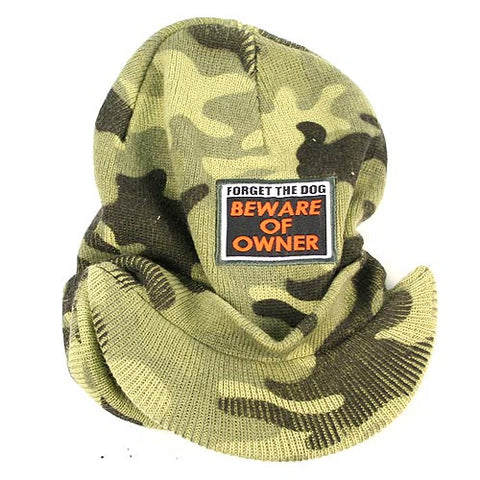 Forget the Dog Beware the Owner Billed Camouflage Beanie