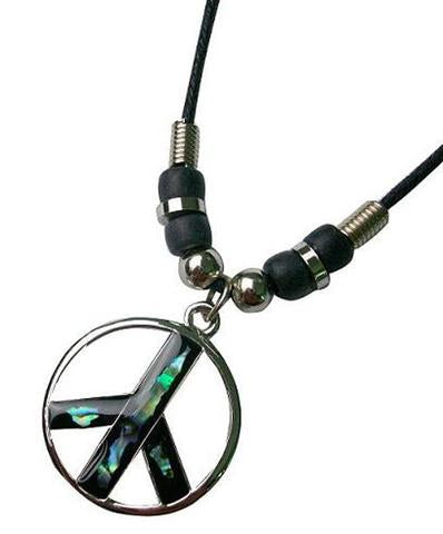 Peace Sign Multiple Colored Rope Necklace