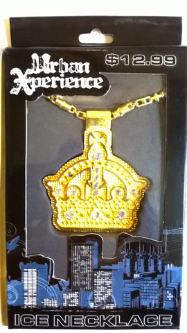 Urban Xperience Gold Colored Crown Ice Necklace