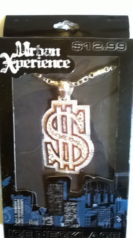 Urban Xperience Silver Colored Dollar Sign Ice Necklace