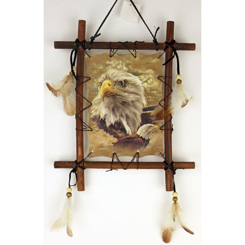 Eagle Head Wood Framed Dream Catcher