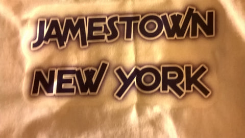 Jamestown New York T-Shirt With Blue Lettering