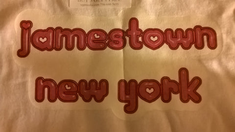 Jamestown New York T-Shirt With Pink Lettering