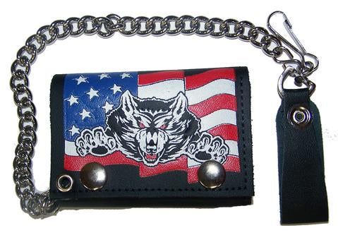 Wolf American Flag Chain Leather Wallet