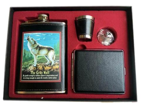 Wolf Flask and Cigarette Case GIFT BOX