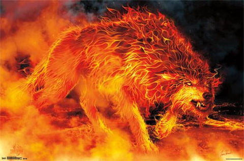 "Wolf on Fire 24"" x 36"" Poster"