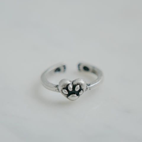 Heart Filled Paw Adjustable Ring