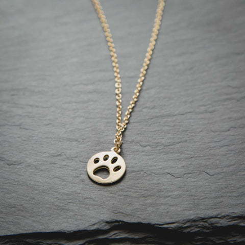 Paw Cut Out  Circle Necklace